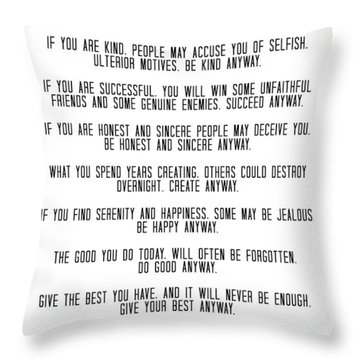 Do It Anyway By Mother Teresa 3 #minimalism #inspirational Throw Pillow