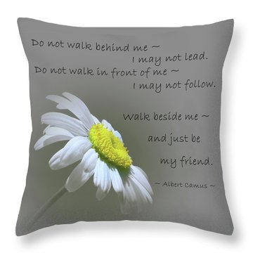 Throw Pillow featuring the mixed media Walk Beside Me by Movie Poster Prints