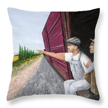 Throw Pillow featuring the painting Do You Think They Have Rabbits by Kevin Daly