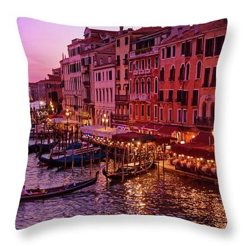 A Cityscape With Vintage Buildings And Gondola - From The Rialto In Venice, Italy Throw Pillow