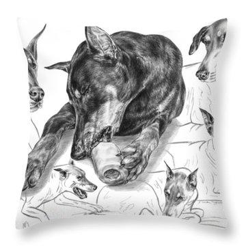 Dober-thoughts - Doberman Pinscher Montage Throw Pillow