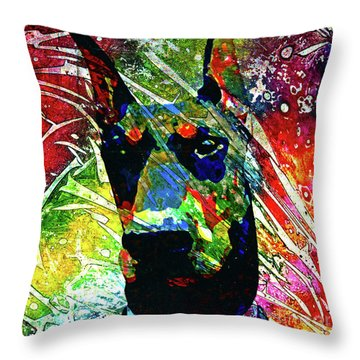 Doberman Custom Portrait Throw Pillow