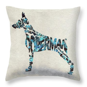 Throw Pillow featuring the painting Doberman Pinscher Watercolor Painting / Typographic Art by Ayse and Deniz