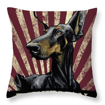 Doberman Revolution Throw Pillow