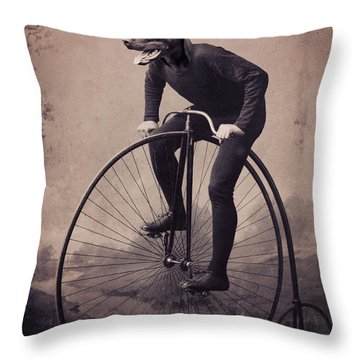 Doberman Velocipede Throw Pillow by Aged Pixel