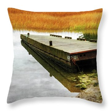 Throw Pillow featuring the photograph Dock And Marsh by Tom Singleton