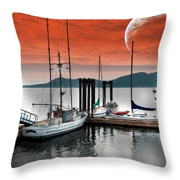 Dock And The Moon Throw Pillow