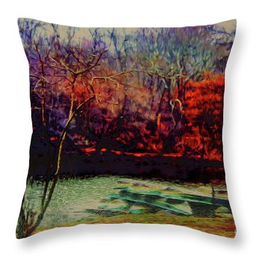 Dock At Central Park Throw Pillow by Sandy Moulder