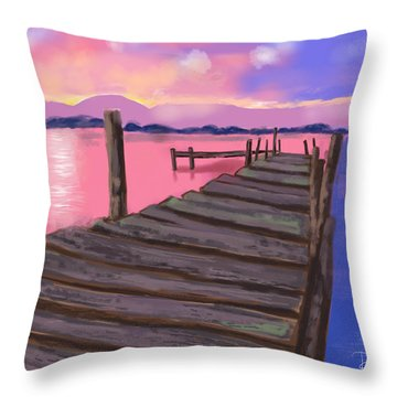 Dock At Sunset Throw Pillow