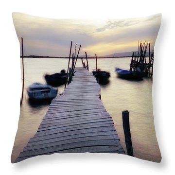 Dock At Sunset Throw Pillow