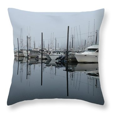 Dock Foggy Morning Throw Pillow