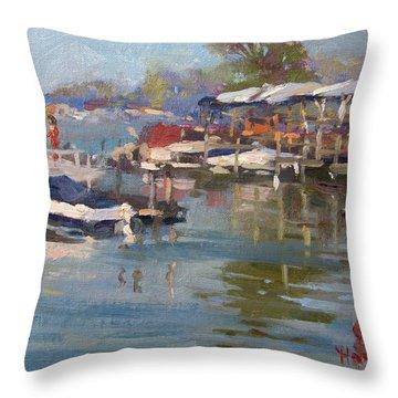 Dock In North Tonawanda Throw Pillow