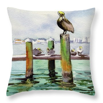 Throw Pillow featuring the painting Dock O' The Bay by Kris Parins