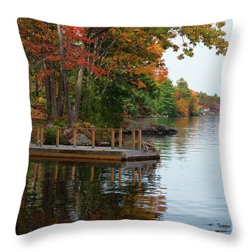 Dock On Lake In Fall Throw Pillow