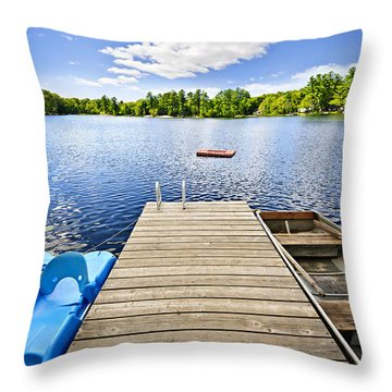 Dock On Lake In Summer Cottage Country Throw Pillow