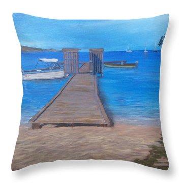 Dock On The Beach Throw Pillow