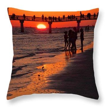 Dock Sunset Throw Pillow by Rosalie Scanlon