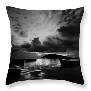Docked At Dusk Throw Pillow