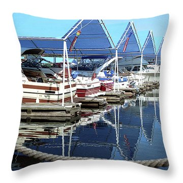 Throw Pillow featuring the photograph Docked Boats by Emanuel Tanjala