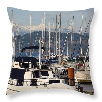 Docked For The Day Throw Pillow by Rod Jellison