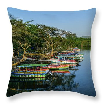 Boats By The River Throw Pillow