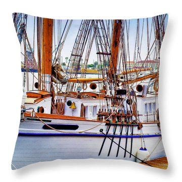 Docked Throw Pillow by Joseph Hollingsworth