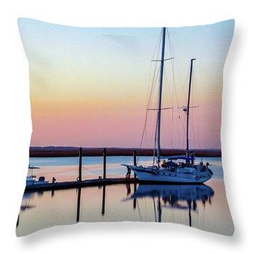 Docked On Jekyll Island Throw Pillow