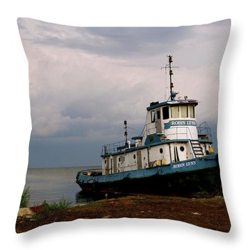 Docked On The Shore Throw Pillow