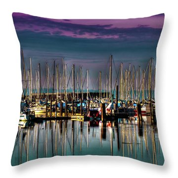 Docked Sailboats Throw Pillow by David Patterson