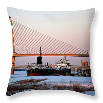 Docked Under The Glass City Skyway  Throw Pillow