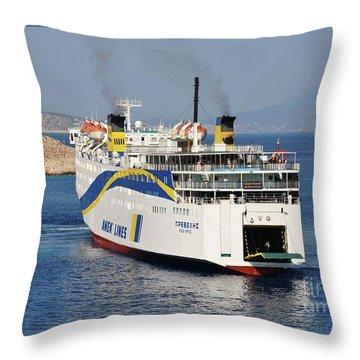 Docking Ferry On Halki Throw Pillow