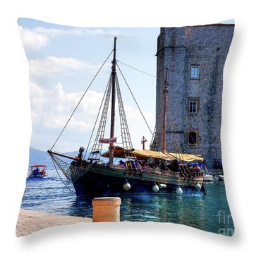 Docking In Dubrovnik Harbour Throw Pillow