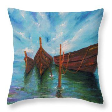 Throw Pillow featuring the painting Docking by Itzhak Richter