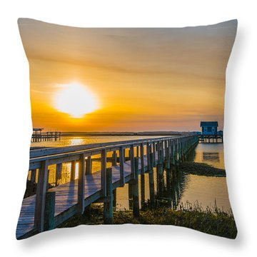 Throw Pillow featuring the photograph Docks At Sunset I by Steven Ainsworth