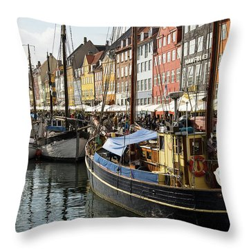 Dockside At Nyhavn Throw Pillow