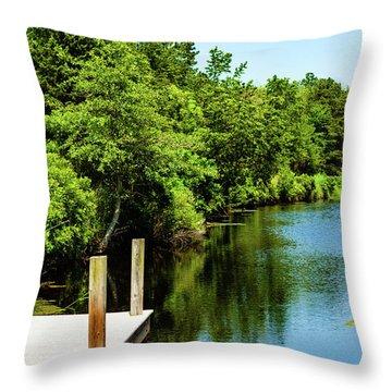 Dockside In Delaware Throw Pillow