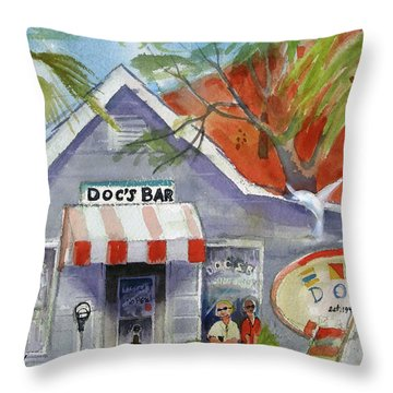 Throw Pillow featuring the painting Docs Bar Tybee Island by Gertrude Palmer
