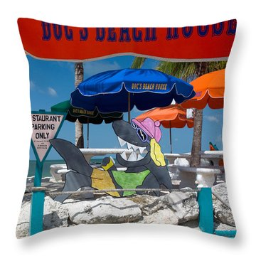 Doc's Beach House On Bonita Beach Throw Pillow