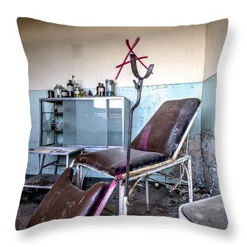 Doctor Chair Awaits Patient - Urbex Throw Pillow by Dirk Ercken