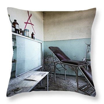 Throw Pillow featuring the photograph Doctor Chair Awaits Patient - Urbex Exploaration by Dirk Ercken