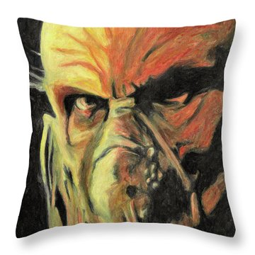 Throw Pillow featuring the painting Doctor Satan by Taylan Apukovska
