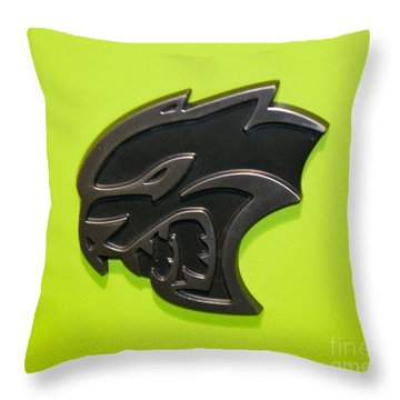 Dodge Challenger Srt Hellcat Emblem Throw Pillow by Pamela Walrath