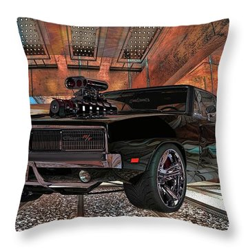 Throw Pillow featuring the photograph Dodge Charger R/t 1969 Hemi by Louis Ferreira