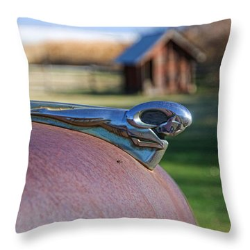 Throw Pillow featuring the photograph Dodge Emblem by Ely Arsha