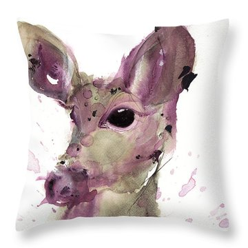 Throw Pillow featuring the painting Doe by Dawn Derman