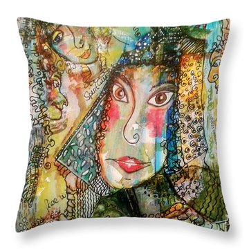 Doe Eyed Girl And Her Spirit Guides Throw Pillow by Mimulux patricia no No