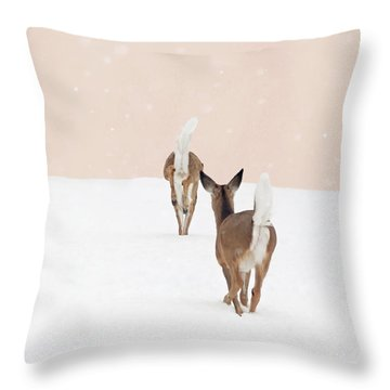 Doe In Winter On Blush Pink Throw Pillow