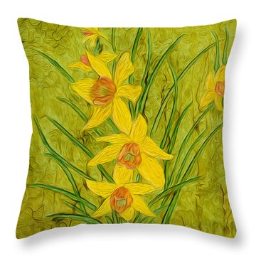 Daffodils Too Throw Pillow
