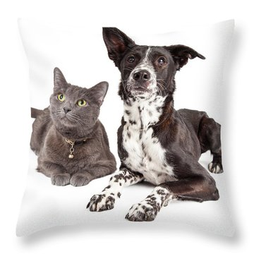 Dog And Cat Laying Looking Up Throw Pillow
