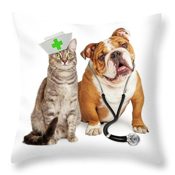 Dog And Cat Veterinarian And Nurse Throw Pillow
